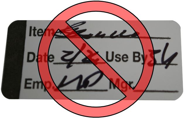 Image of Illegible Handwrite Food Safety Label